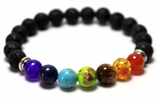 7 Chakra Bead & Lava - Bracelet