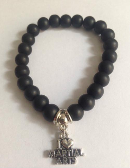 Black Agate Bracelet with I Love Martial Arts Charm