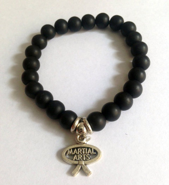 Black Agate Bracelet with Martial Arts Charm