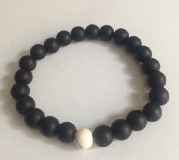 Black Agate and 1 White Stone Bracelet