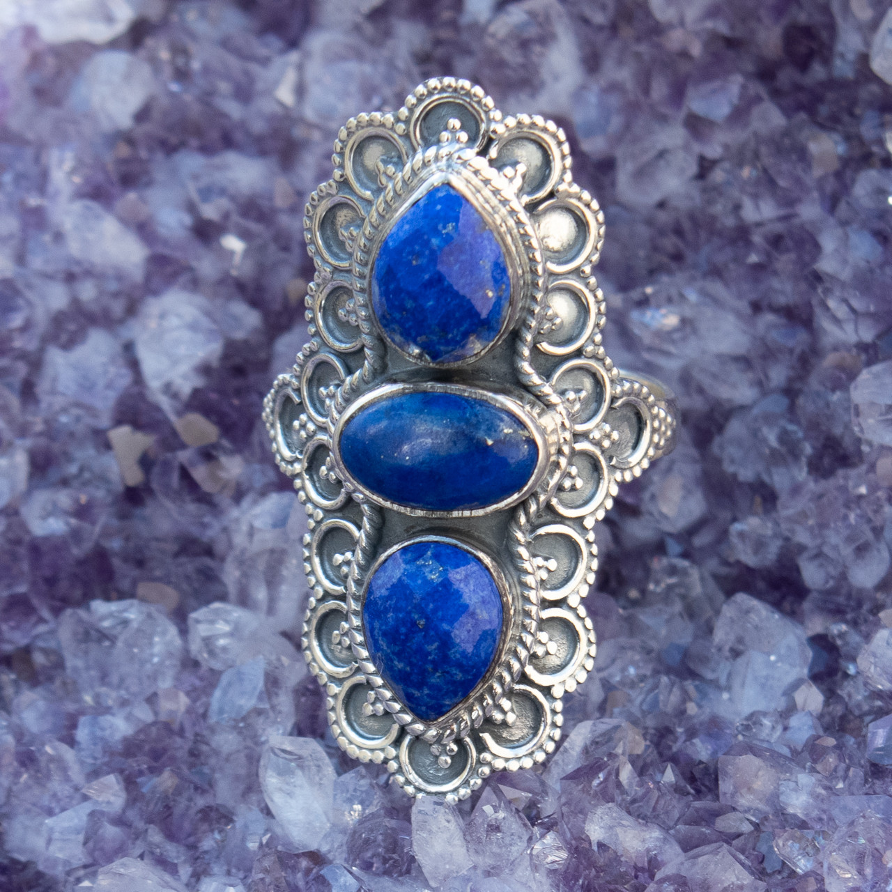 US size 9.25 Small women/'s ring in Silver 925 and lapis lazuli size 60