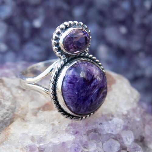 Charoite, Amethyst Ring Size 8 #1018