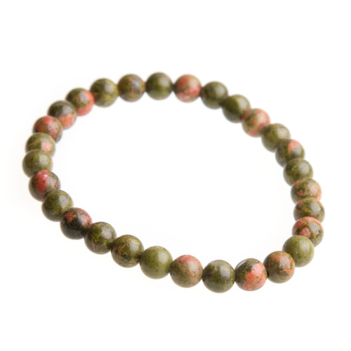 Unakite Stretch Bracelet with 6mm Beads #0501