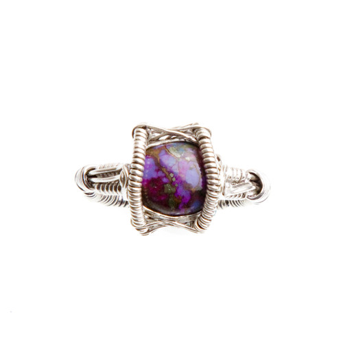 Purple Copper Turquoise Ring Size 11 #0537