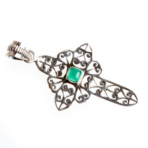 Green Onyx Cross Pendant #0596