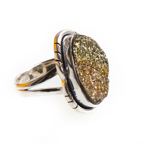 Spectro Pyrite Druzy Ring Size 6.75 #0635