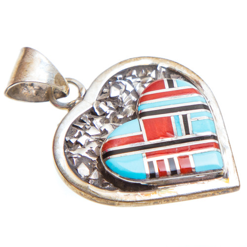 Native American Heart Inlay Pendant #0893