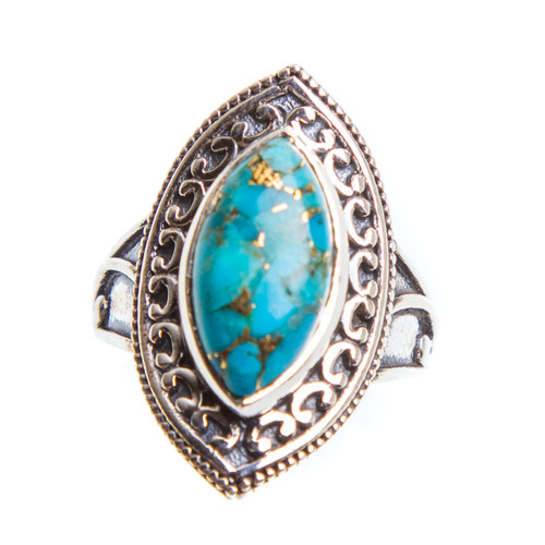 Blue Copper Turquoise Ring Size 7.75 #0909