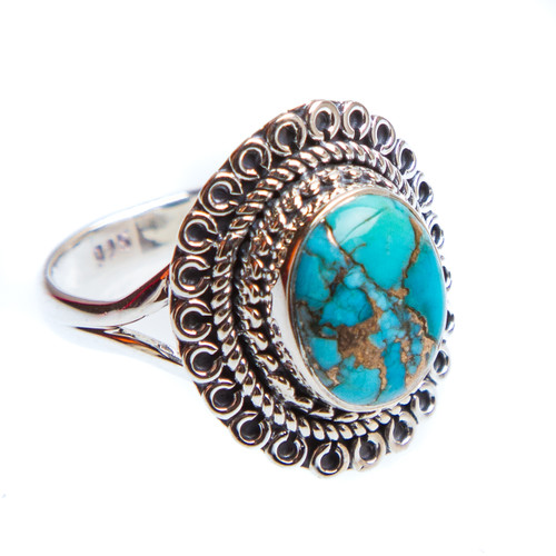 Blue Copper Turquoise Ring Size 9 #0957
