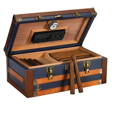 Admiral 120 Cigar Blue Trunk Style Humidor, Leather, Solid wood Exterior