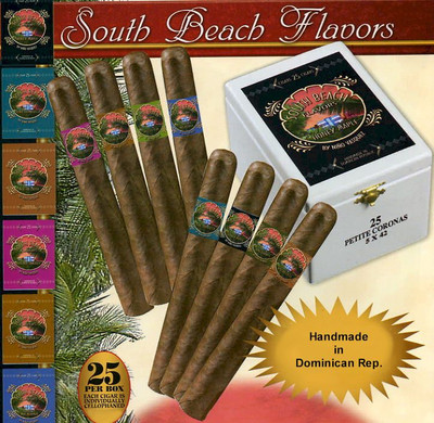 """Newly released """"South Beach Flavors"""" from the plantations of master blender and longtime premium cigar maker, Nino Vasquez, have become the cigars of choice along the famed nightclub strip of Ocean Drive. in South Beach and Little Havana. Nino has introduced an exciting full line of flavors in his latest creation of fine cigars. Not the overpowering strong flavoring so often found in other flavored cigar brands, but rather a more subtle, refined aromatic approach. With every South Beach Cigar, you and those around you, will enjoy the delightfully light aromas given off by these expertly blended Dominican premium cigars. You may never go back to 'regular' cigars again!"""