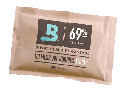 "Single Pack Uses: Humidity control (1) Boveda 60g/25 cigars in your humidor  Merchandising: Use with Boveda Wire Retail Display Rack Cross-sell with: Boveda Metal and Wood Holders   Replace: When Boveda begins to get rigid Shelf Life in Original Packaging: 2 years Retail Carton Dimensions: 5.75""x 3.75""x 4.5"" Individual Dimensions: 5.25"" x 3.5""WHY BOVEDA 60 GRAM FOR CIGARS? Spreads the power of Boveda throughout a humidor:  Tuck Boveda under the shelves Affix Boveda to the lid with a Boveda Metal or Wood Holder Toss Boveda among smokes WHY BOVEDA FOR PREMIUM CIGARS? NO MORE MESSING WITH:  Wet sponges PG solutions Gels Beads NO MORE HALF-WAY:  1-way humidifiers only do half the job—ADD moisture. (And can over-humidify cigars.)  NO MORE GUESSING: Boveda is precise, complete and easy cigar care.  Just toss Boveda in and watch it work Automatically adds AND absorbs moisture with Boveda's patented 2-way humidity control Prevents cigars from splitting and bloating Enhances—doesn't change—flavor and aroma WHY BOVEDA 69% RH FOR CIGARS? Achieves and maintains 69% RH level, which is the sweet spot for most premium cigars.  Ideal for:  High-end humidors Airtight humidors Acrylic humidors Boveda Humidor Bags Tupperdors Coolidors Pelican™ travel humidors If your humidor isn't airtight, choose a higher RH level.  Note: Do not mix Boveda RH levels within the same humidor, and do not use Boveda in the same humidor with other humidification products. They will fight against each other and reduce the efficiency of Boveda."