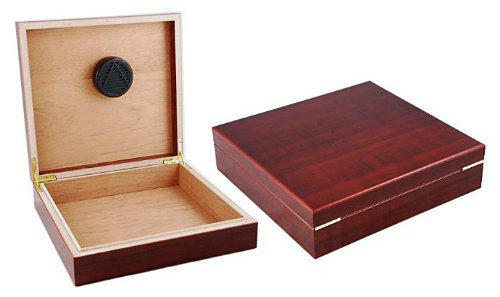 THE Chateau Black or Cherry 15-20 Count DeskTop Cigar Humidor with Humidifier