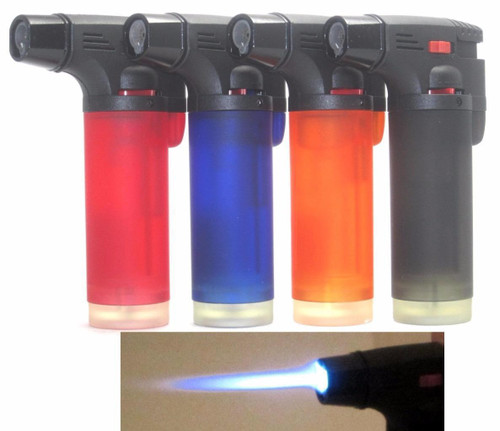"1 Pack Eagle Torch Gun Lighter Refillable Windproof  Overall Dimension: 2-1/2"" x 4-1/4""  Description: Single flame Torch Lighter  Refillable  Lockable Flame Adjustable Windproof Semi-Transparent Tank. Butane Viewable Any 1 of the above color.   Has Lock to keep on or as a safety off switch"