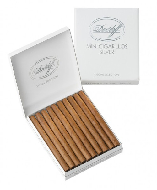 Davidoff Silver Mini Cigarillos, made in Denmark, are hand rolled to perfection. Brazilian and Indonesian tobaccos come together to make a mild yet tasteful filler blend that makes these cigars wonderful light smokes. The natural colored Connecticut wrappers and Java binders enhance the taste of these masterpieces. With every drag, spicy flavors will gently caress your senses, while its smooth and aromatic smoke will help relax you. This exquisite combination, along with the compact size, makes these cigars perfect to smoke when you are have a schedule to keep.    These cigars measure 3½ inches in length and have a ring gauge of 20. The premium stogies come in an elegant white box that contains 20 cigars. The packaging makes these cigarillos portable, while preserving the freshness each one. These mini-cigars are perfect companions to a steaming cup of strong coffee.
