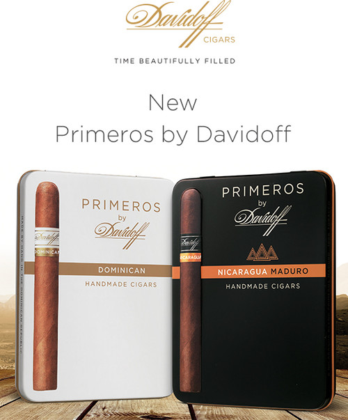 Big flavor in a small package.  Davidoff Primeros offer a perfect option for enjoying top of the line handmades when you're stretched for time. Known for shelling out one premium after another, this addition is no different. Utilizing grade A leaves of four different varieties, Davidoff Primeros run the gamut on flavor and strength. You can choose between tame Dominican natural and maduro wrappers or feisty Nicaraguan natural and maduro wrappers.