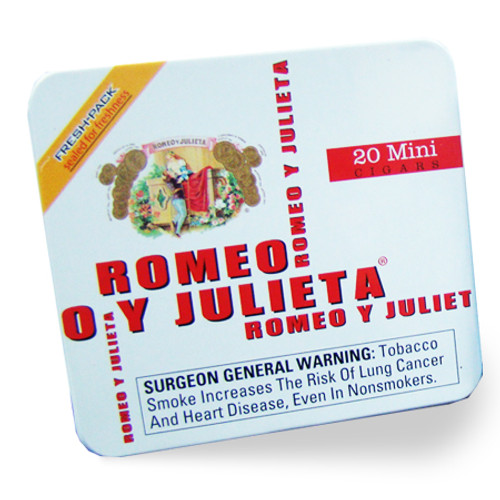Romeo y Julieta Miniatures might be small, but these tasty cigarillos allow you to enjoy a full Romeo y Julieta experience, in a fraction of the time. Containing the same premium tobaccos as their larger counterparts, Miniatures deliver smooth, big-time flavors. The best part is, Miniatures are packaged in pocket-sized fresh-sealed tins, which require no humidification until you open them! Convenience at its finest, from Romeo y Julieta.  ​  White: medium to full-bodied, hearty yet smooth.