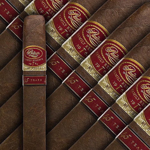 "The Padron Family Reserve #45 is a limited production cigar from Padron. Available in a Maduro wrapper, this cigar is made with tobacco aged for 10 years. Box-pressed, full bodied, and 52 x 6"" in size. Rated 95 and voted ""2009 Cigar of the Year"" by Cigar Aficionado."