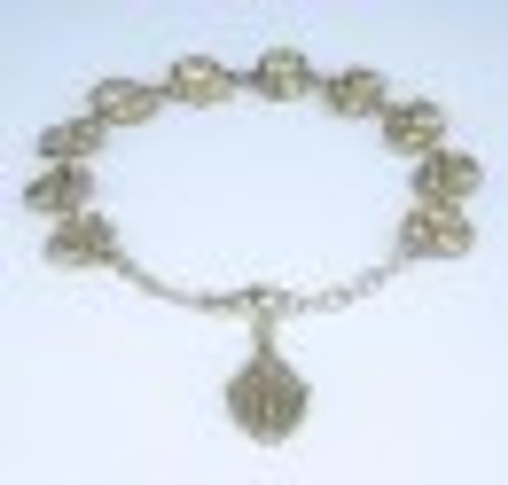 Rose Bud Beads with Saint Images Sterling Silver Bracelet 10mm B8844W