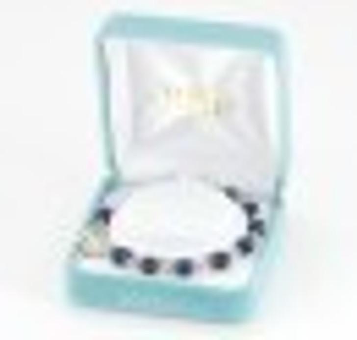 Genuine Lapis Round Sterling Silver Rosary Bracelet 6mm B7600LPX