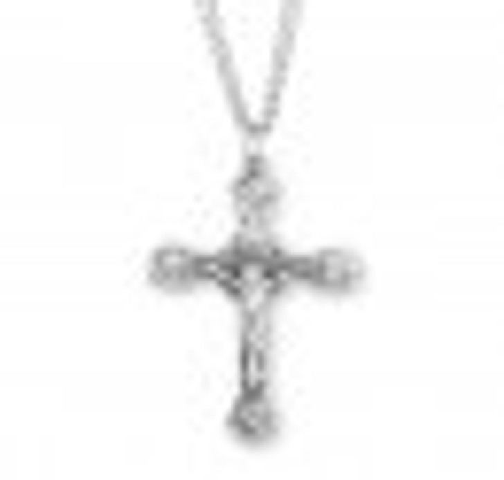 Angel Tipped Sterling Silver Crucifix- S11324