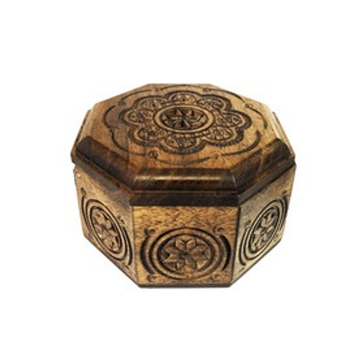 Carved Wooden Keepsake Box From Ukraine - Perfect for prayer Beads, Rosary, Jewelry and More 4 Inch