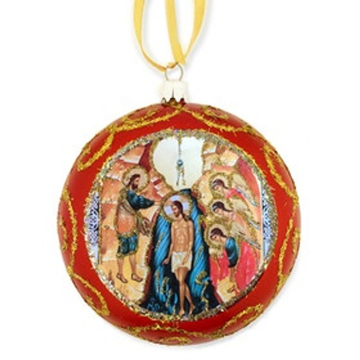 Red Religious Christmas Ornament Theophany Baptism - Not Breakable 4.75 Inch u304c