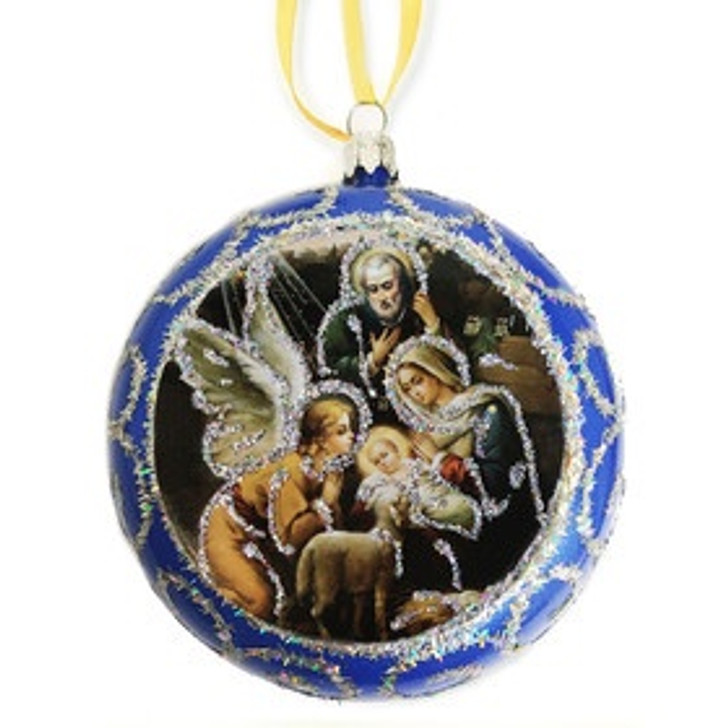 Blue Religious Christmas Ornament Nativity Holy Family - Not Breakable 4.75 Inch u311