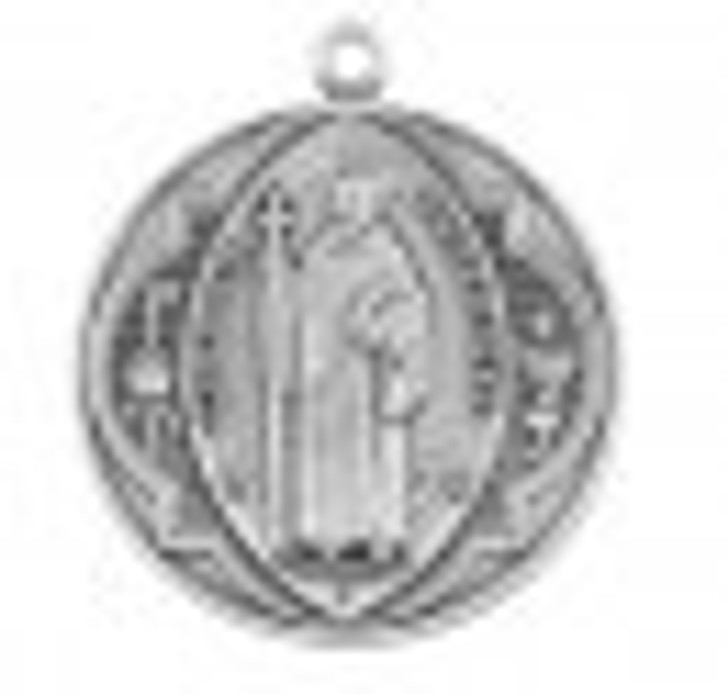 Saint Benedict Round Sterling Silver Medal S169318