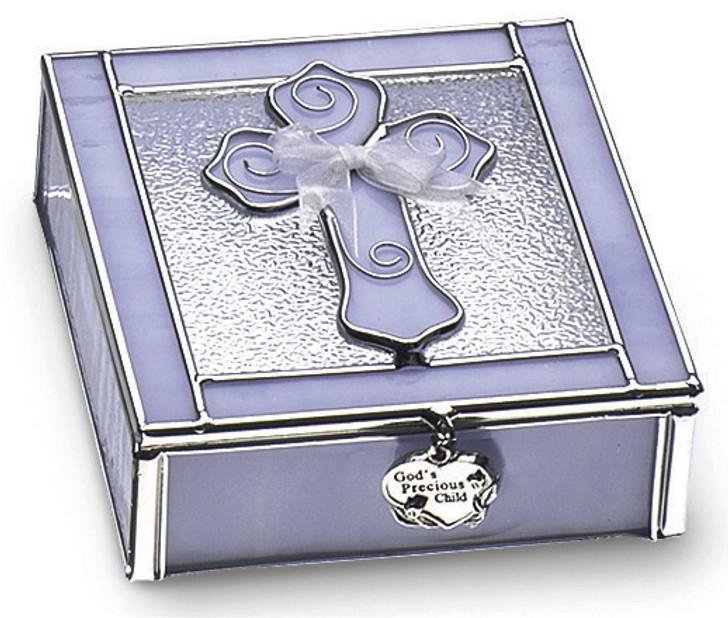 KEEPSAKE BOX/CROSS - BLUE