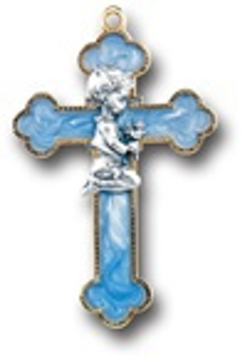 BLUE ENAMELED CROSS 22163B