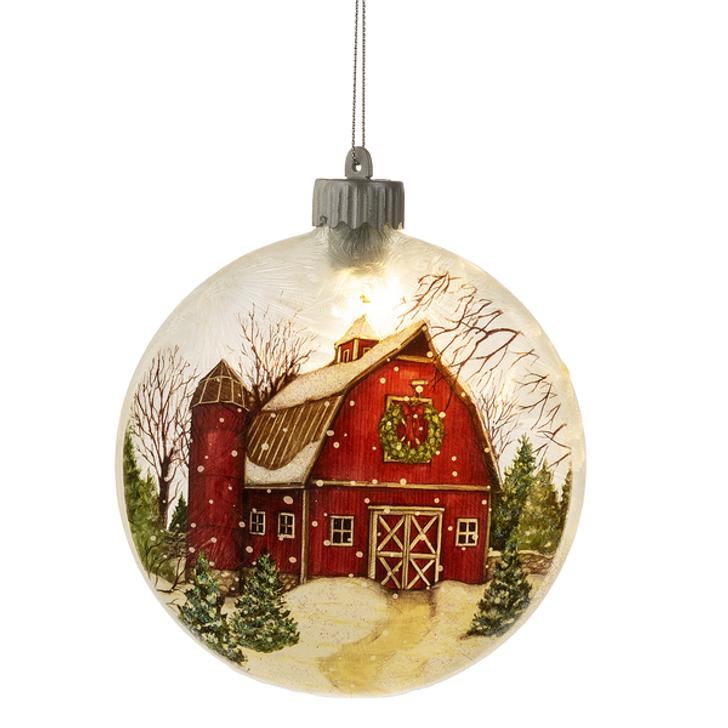 Lighted LED Barn Ornament.