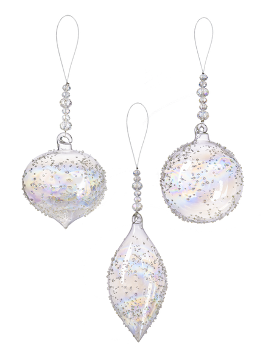 Asst Textured Glass Ornaments