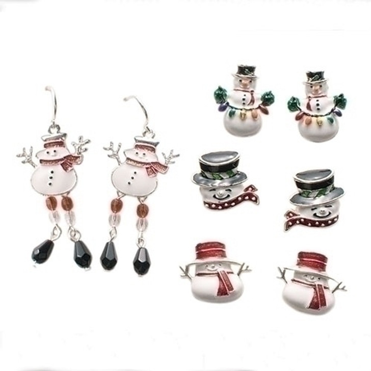 .75-2IN SNOWMAN EARRING 4 AST 64486