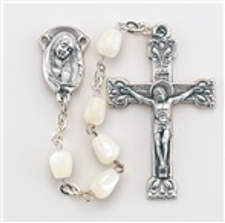 01517 5MM MOTHER OF PEARL TEARDROP BEAD ROSARY