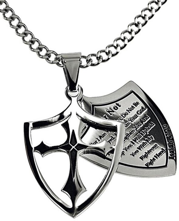 """2 Piece Shield Cross """"Fear Not"""" with Upgrade Chain"""
