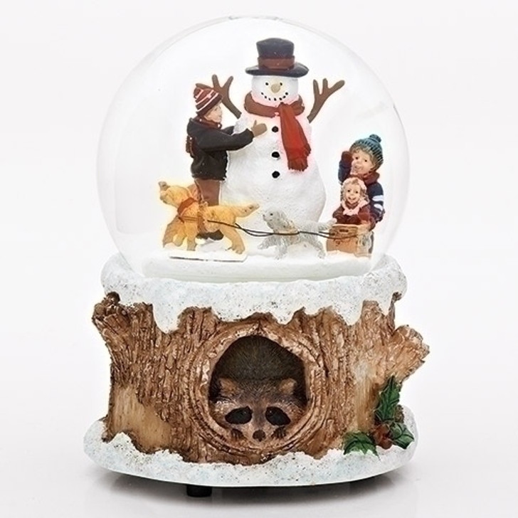 """6""""H MUSICAL DOGS SNOWMAN DOME ROTATING WINDUP 100MM 31101"""