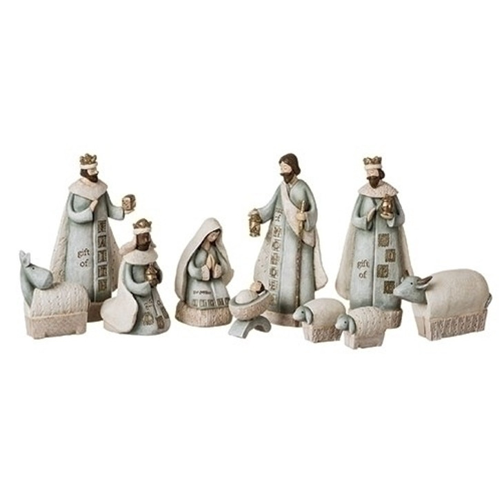 """7.5""""H 10PC ST NATIVITY STAMPED LOOK 130824"""