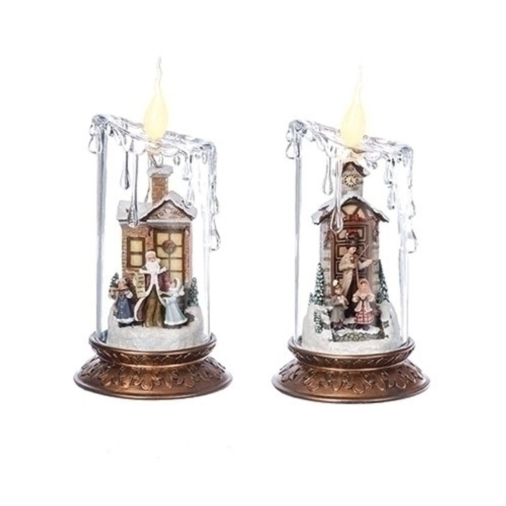 """8""""H LED PILLAR CANDLE W/SCENE FIGURE; BATTERY OP N/INCLUDED 36574"""