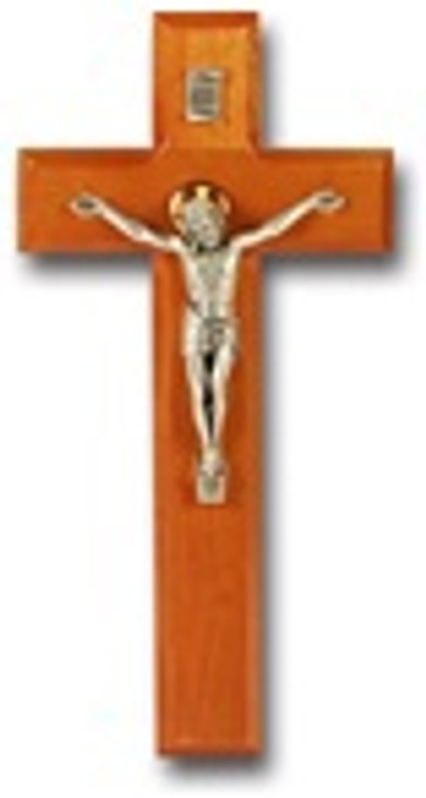 9 IN NATURAL CHERRY CROSS WITH ANTIQUE SILVER PLATED CORPUS 42A-9C1