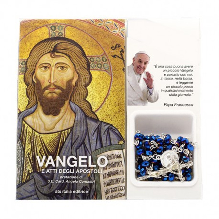 """Book """"Gospels and Acts of the Apostles"""" with crystal glass rosary E1270"""