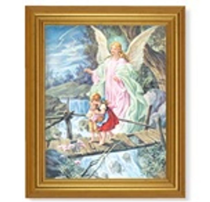 GOLD LEAF FINISH BEVELED FRAME WITH GUARDIAN ANGEL 110-350