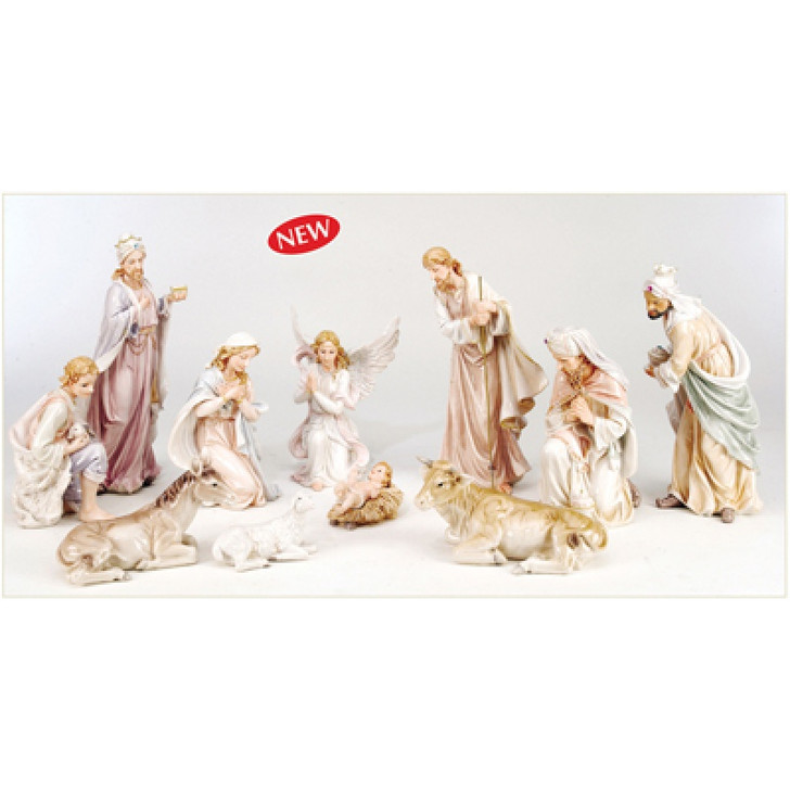 "NATIVITY SET PASTELS COLORS RESIN (11PCS) 5"" WITH DELUXE PAINTED WOODEN BOX NS10-05PBX"