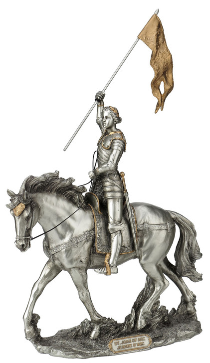 St. Joan of Arc, Pewter Style Finish, Golden Highlights, 10x11 In SR-76003-PE