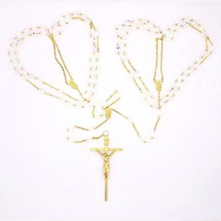 Small Crystal Bead and Gold-tone Wedding Lasso Rosary 108-16-5203