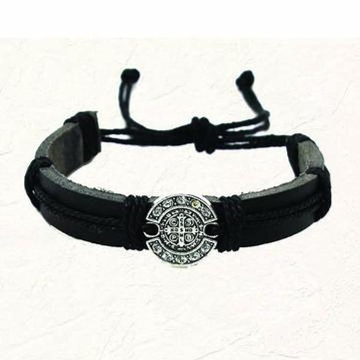 """Black """"leather feel"""" St. Benedict Slip knot Bracelet 194-16-1853"""