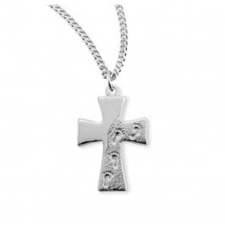 Sterling Silver Footprints in the Sand Cross S375318