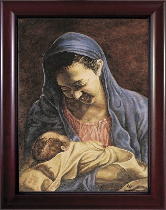 Madonna and Child by Jason Jenicke Cherry Framed Art