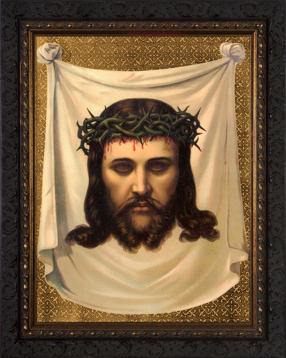 Antique Veronica's Veil - Ornate Dark Framed Art