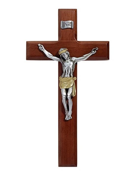 Maple Hardwood Antique Crucifix - Two-Tone M13T08